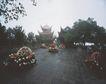 名院0172,名院,园林,烟雨蒙蒙 菊花坛 远亭