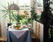 餐厅0103,餐厅,装饰,几盆花 白桌布 红花绿叶