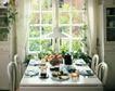 餐厅0110,餐厅,装饰,吊灯 白色桌椅 屋外花草