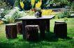 餐厅0114,餐厅,装饰,木凳 木桌 花草