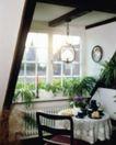 餐厅0134,餐厅,装饰,角落 角度 壁钟 兰花 窗格