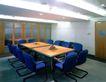 会议室0018,会议室,装饰,小会议厅 蓝色 钢垫椅 方桌 日光灯