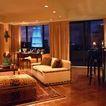 客厅0102,客厅,装饰,蓝色水晶灯 金色灯光 黄色窗帘