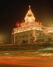 中国名胜0161,中国名胜,世界风光,银行  红旗 霓红灯
