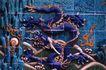 中国雕刻0053,中国雕刻,中华图片,蓝色 龙壁 皇权