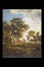欧洲名画0053,欧洲名画,艺术,稀疏 树林 村落