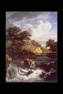 欧洲名画0054,欧洲名画,艺术,溪水 急流 堤坝