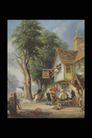 欧洲名画0072,欧洲名画,艺术,木屋 大树 小酒店