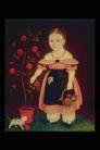 人物油画0054,人物油画,艺术,矮妇 摘花 小猫