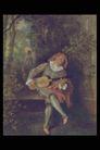 人物油画0108,人物油画,艺术,吉它 坐板凳上 白领衣