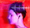 音乐幻想0008,音乐幻想,艺术,女人 戴耳机 侧头 享受 音乐