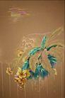 中华刺绣0003,中华刺绣,艺术,黄花 水纹 蓝草 茂盛 叶子