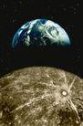 星球世界0107,星球世界,科技,蓝色星球 土黄色星球 石坑
