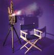 影视制作0118,影视制作,科技,放映机 凳子 背影