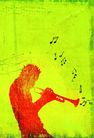 音乐遐想0009,音乐遐想,艺术,吹角 吹奏 投入