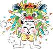 12生肖0010,12生肖,漫画卡通,兔子 迎接 新年