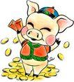 12生肖0012,12生肖,漫画卡通,硬币 猪年 发大财