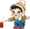 节庆0002,节庆,漫画卡通,发鞭炮 冬天 迎春