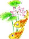 节庆0006,节庆,漫画卡通,荷花 荷叶 鲤鱼