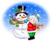 节庆0012,节庆,漫画卡通,堆雪人 孩子 下雪
