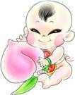 节庆0024,节庆,漫画卡通,小孩 桃子 水果