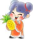 节庆0032,节庆,漫画卡通,水果 女童 菠萝