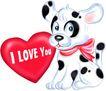 节庆动物0001,节庆动物,漫画卡通,小狗 红心 爱情