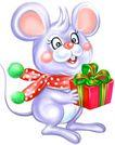节庆动物0004,节庆动物,漫画卡通,老鼠 送礼 大耳