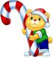 节庆动物0007,节庆动物,漫画卡通,小熊 抱着 拐棍