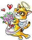节庆动物0008,节庆动物,漫画卡通,光环 花束 猫儿