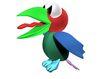 3D动物图案0101,3D动物图案,漫画卡通,大绿尖嘴 红舌头 蓝翅膀