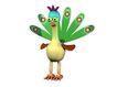 3D动物图案0102,3D动物图案,漫画卡通,孔雀 长椭圆尾羽 绿色毛