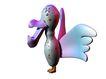 3D动物图案0107,3D动物图案,漫画卡通,小鸟 下巴很长 紫色