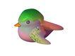 3D动物图案0108,3D动物图案,漫画卡通,绿头 小尖嘴 紫色羽毛