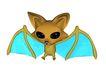 3D动物图案0131,3D动物图案,漫画卡通,蝙蝠 飞行 夜晚 大眼睛 夸张
