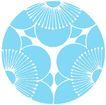 彩绘0109,彩绘,漫画卡通,青色 一个大圆 三个花蕊