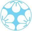 彩绘0110,彩绘,漫画卡通,一个圆圈 里面三朵花 淡蓝色