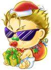 彩绘0122,彩绘,漫画卡通,眼镜 礼物 礼盒 过节 小家伙