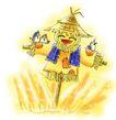 彩绘0130,彩绘,漫画卡通,稻草人 守候 飞鸟 偷食 稻田