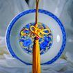 中国结0058,中国结,中国图片,瓷器 碟 黄丝带