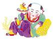 中华剪纸0248,中华剪纸,中国图片,儿童 坐地上 玩耍