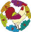 吉祥动物0064,吉祥动物,中国图片,公鸡 鲜花 啼鸣