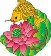 吉祥动物0066,吉祥动物,中国图片,鲤鱼 莲叶 荷花