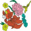 吉祥动物0070,吉祥动物,中国图片,金鱼 花朵 喜庆