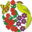 吉祥动物0073,吉祥动物,中国图片,黄蝶 采蜜 绿鸟