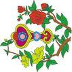 吉祥动物0096,吉祥动物,中国图片,红花 绿叶 吉祥