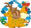 吉祥动物0100,吉祥动物,中国图片,梅花鹿 公鸡 牲畜