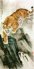 中国现代花鸟0163,中国现代花鸟,山水名画,老虎下山