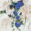 中国现代花鸟0168,中国现代花鸟,山水名画,蓝色花朵