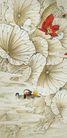 中国现代花鸟0178,中国现代花鸟,山水名画,荷花池 红莲 鸳鸯戏水
